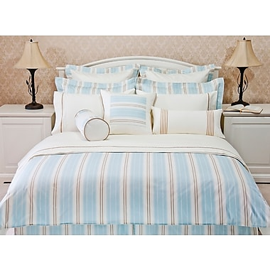 Highland Feather Aqua Empire Stripe Duvet Cover Set