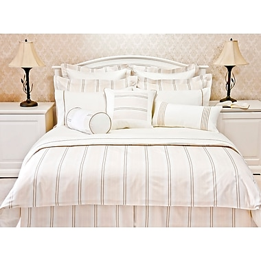 Highland Feather Khaki Empire Stripe Duvet Cover Ensemble