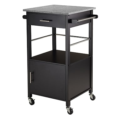 Winsome Davenport Kitchen Cart with Granite Top, Black