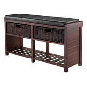 Winsome Colin Storage Bench with Cushion Seat and Baskets, Cappuccino (40438)