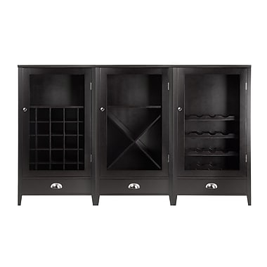 Winsome Bordeaux 3-Piece Wine Cabinet Modular Set with Tempered Glass Doors