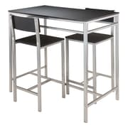 "Winsome Hanley Table with Two 26"" High Back Stools, Black (93336)"