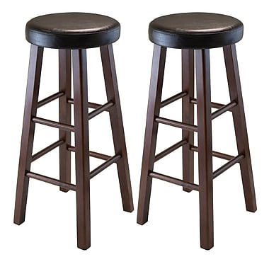 Winsome Marta Set of 2 Round Bar Stool, PU Leather Cushion Seat, Square Legs, Assembled
