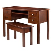 Winsome Emmett Writing Desk and Seating Bench with Storage, Walnut (94247)