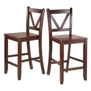 "Winsome V-Back 24"" Counter Stools, Walnut, Set of 2 (94253)"