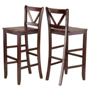 "Winsome V-Back 29"" Bar Stools, Walnut, Set of 2 (94259)"