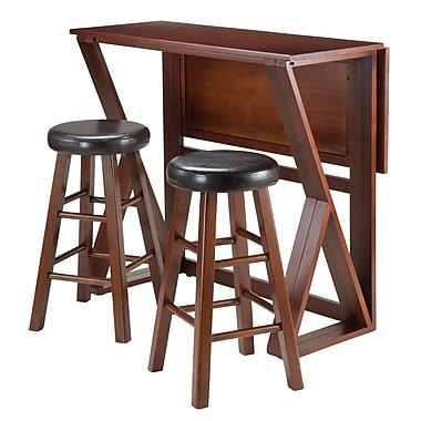 Winsome – Ensemble 3 pièces de la collection Harrington avec table haute à abattant et 2 tabourets rembourrés ronds de 24 po