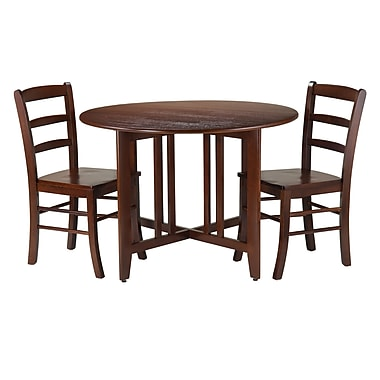 Winsome Alamo 3-Piece Round Drop Leaf Table with 2 Ladder Back Chairs