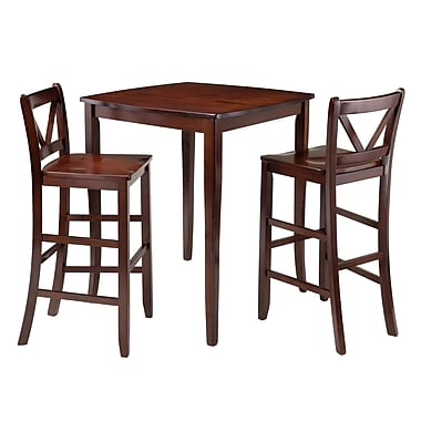 Winsome Inglewood 3-Piece High Table with 2 Bar V-Back Stools