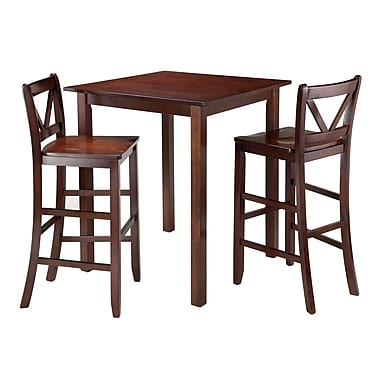 Winsome Parkland 3-Piece High Table with 2 Bar V-Back Stools