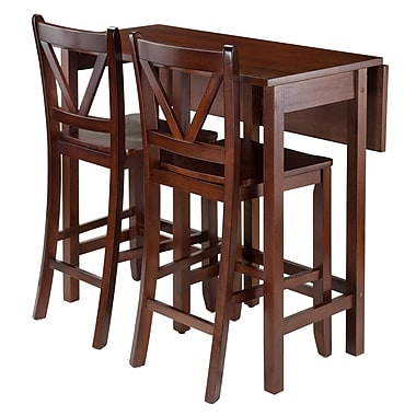 Winsome Lynnwood 3-Piece Drop Leaf Table with 2 Counter V-Back Stools