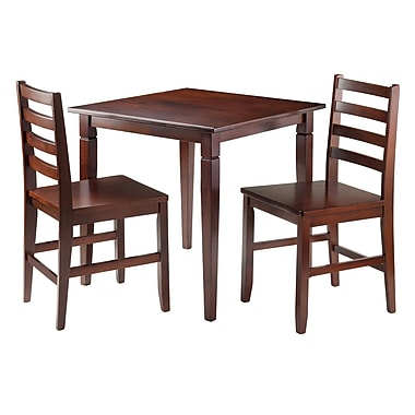 Winsome Kingsgate 3-Piece Dinning Table with 2 Hamilton Ladder Back Chairs