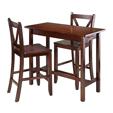 Winsome 3-Piece Kitchen Island Table with 2 V-Back Stool
