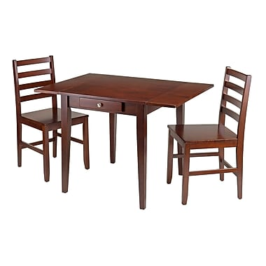 Winsome Hamilton 3-Piece Drop Leaf Dining Table with 2 Ladder Back Chairs