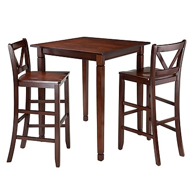 Winsome Kingsgate 3-Piece Dining Table with 2 Bar V-Back Chairs