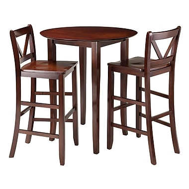 Winsome Fiona 3-Piece High Round Table with 2 Bar V-Back Stool