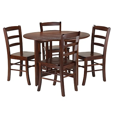 Winsome Alamo 5-Piece Round Drop Leaf Table with 4 Ladder Back