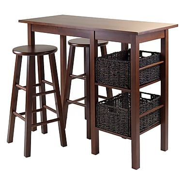Winsome Egan 5-Piece Breakfast Table with 2 Baskets and 2 Stools