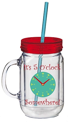 Cypress 20 oz. 5 O'Clock Somewhere Double Walled Mason Jar Insulated Cup w/ Straw WYF078277859121