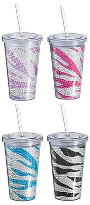 Cypress Bedazzled Zebra Plastic Bling Cup (Set of 4) WYF078277859109