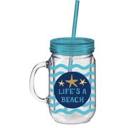 Cypress 20 oz. Life's a Beach Double Walled Mason Jar Insulated Cup with Straw