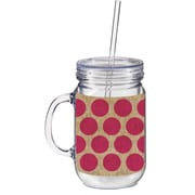 Cypress 20 oz. Burlap Polka Dot Double Walled Mason Jar Insulated Cup with Straw; Pink