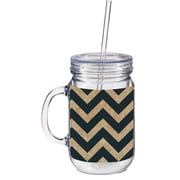 Cypress 20 oz. Burlap Chevron Double Walled Mason Jar Insulated Cup with Straw; Navy