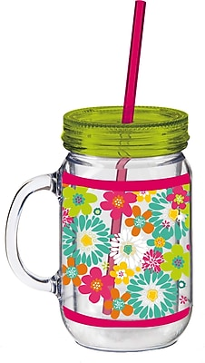 Cypress 20 oz. Floral Flower Double Walled Mason Jar Insulated Cup w/ Straw WYF078277859131