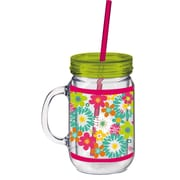 Cypress 20 oz. Floral Flower Double Walled Mason Jar Insulated Cup with Straw