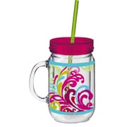 Cypress 20 oz. Floral Flow Double Walled Mason Jar Insulated Cup with Straw