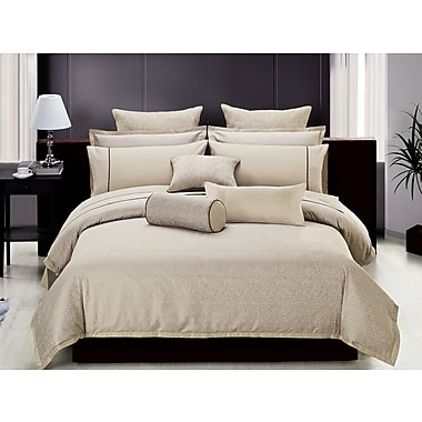 Highland Feather Khaki Modern Leaves Duvet Cover Ensemble