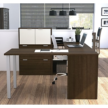i3 by Bestar 150860-78 U-Shaped Desk, Tuxedo & Sandstone