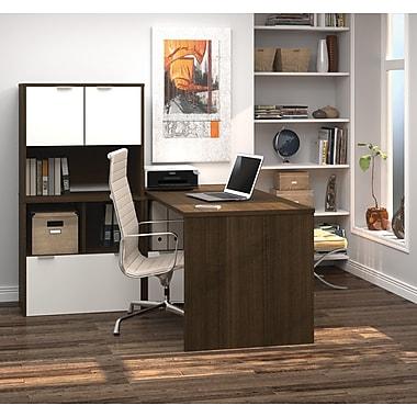 i3 by Bestar L-Shaped Desk with 30'' Deep Return, Tuxedo & Sandstone