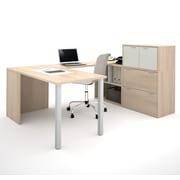 i3 by Bestar 150860-38 U-Shaped Desk, Northern Maple & Sandstone