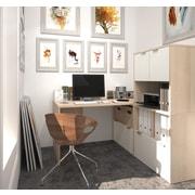 i3 by Bestar L-Shaped Desk with 30'' Deep Return, Northern Maple & Sandstone