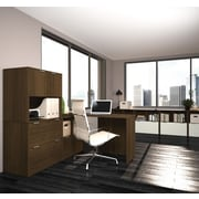 i3 by Bestar L-Shaped Desk with Lots of Storage, Tuxedo