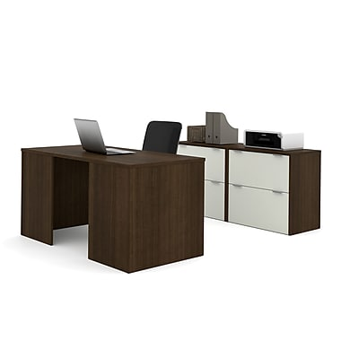 i3 by Bestar – Ensemble de bureau de direction 150861-78, fini Tuxedo et sable