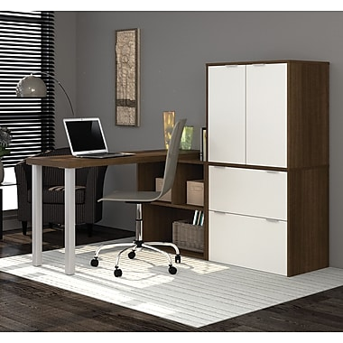 i3 by Bestar L-Shaped Desk with 1 3/4'' Thick Return Top, Tuxedo & Sandstone