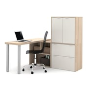 i3 by Bestar L-Shaped Desk with 1 3/4'' Thick Return Top, Northern Maple & Sandstone