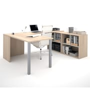 i3 by Bestar 150871-38 U-Shaped Desk, Northern Maple & Sandstone