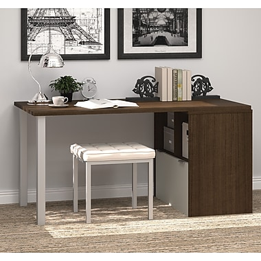 i3 by Bestar Workstation with Drawer, Tuxedo & Sandstone