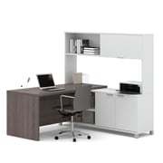 Pro-Linea 120884-47 L-Desk with Hutch, White & Bark Grey
