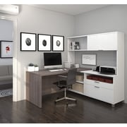 Pro-Linea L-Desk with Hutch, White & Bark Grey