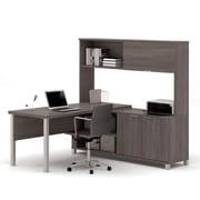 Pro-Linea 120864-47 L-Desk with Hutch, Bark Grey