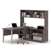 Pro-Linea L-Desk with Hutch, Bark Grey