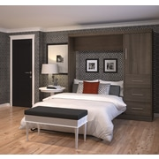 """Nebula by Bestar 84"""" Full Wall Bed Kit Including Storage Unit with 3 Drawers & 1 Door, Antigua"""