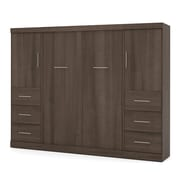 """Nebula by Bestar 109"""" Full Wall Bed Kit Including 2 Storage Units with 6 Drawers & 2 Doors, Antigua"""