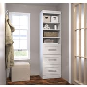 """Pur by Bestar 25"""" Storage Unit with 3-Drawer Set, White"""