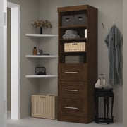 """Pur by Bestar 25"""" Storage Unit with 3-Drawer Set, Chocolate"""