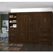"""Pur by Bestar 120"""" Full Wall Bed Kit with Drawers & Doors, Chocolate"""